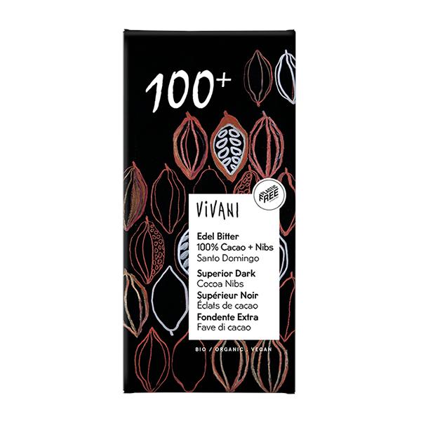 Vivani Edel Bitter 100% + Nibs, 80 g
